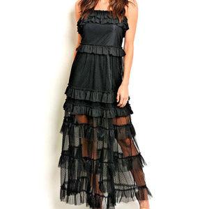 SHEER MaXi DRESS Gown MuLTi RuFFLE SKiRT w Slip ML